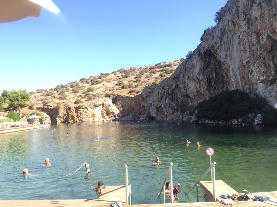 Vouliagmeni Thermal Spa in Athens, where we chilled out today and I had a burger.
