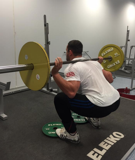David (4th ranked 93kg lifter at 2015 world championships) demonstrates toes elevated squat