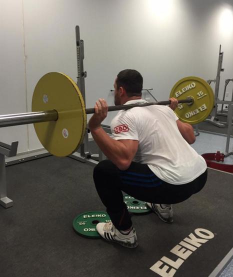 David (4th ranked 93kg lifter at 2015 world championships) demonstrates toes elevated squat