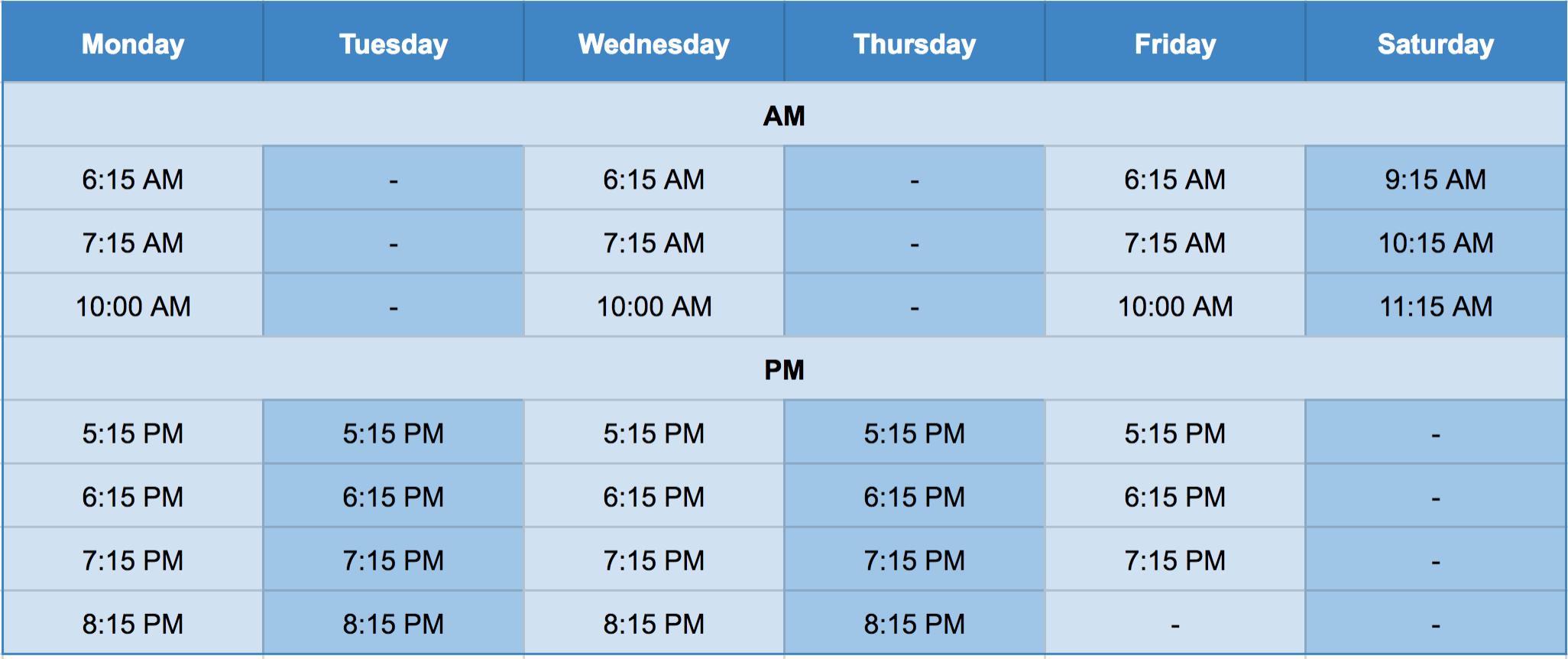 Revolution Fitness Timetable Screenshot